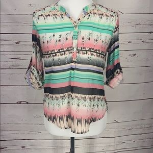 About A Girl Aztec Print Sheer Small Blouse